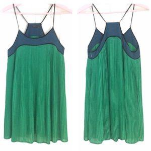 Anthropologie THML Green Swing Dress Razor Back S